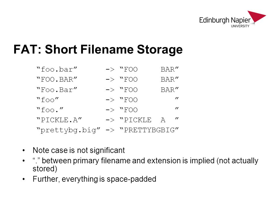 FAT: Short Filename Storage