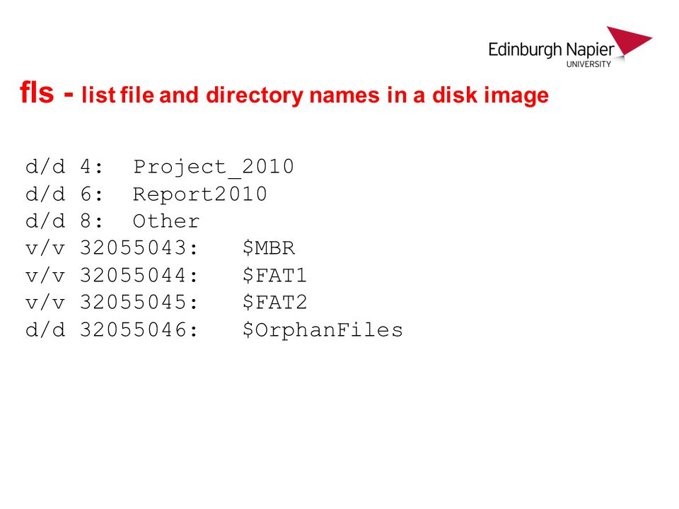 fls - list file and directory names in a disk image
