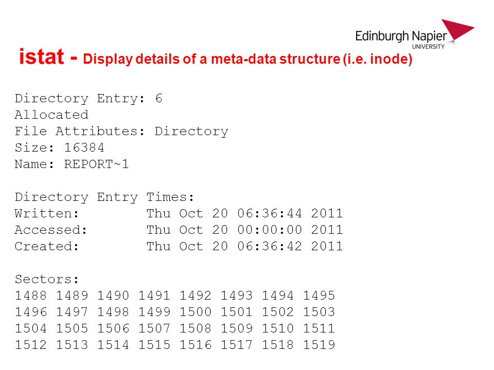 istat - Display details of a meta-data structure (i.e. inode)
