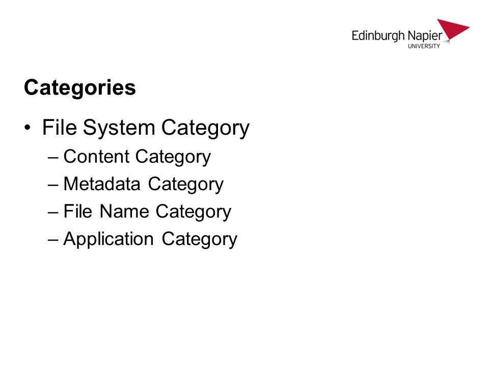 Categories File System Category Content Category Metadata Category