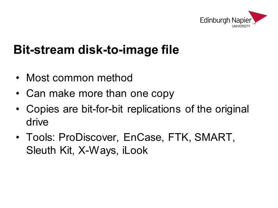 Bit-stream disk-to-image file