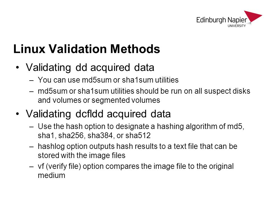 Linux Validation Methods