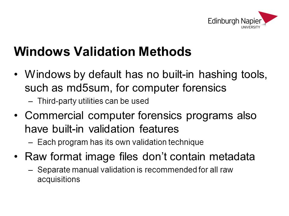 Windows Validation Methods