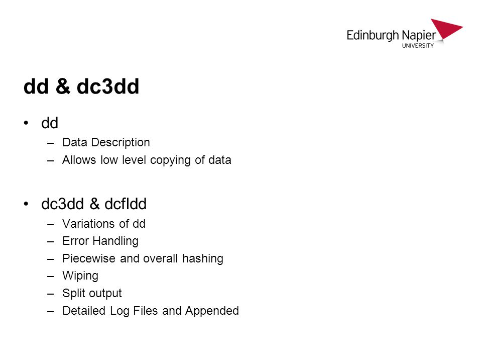 dd & dc3dd dd dc3dd & dcfldd Data Description