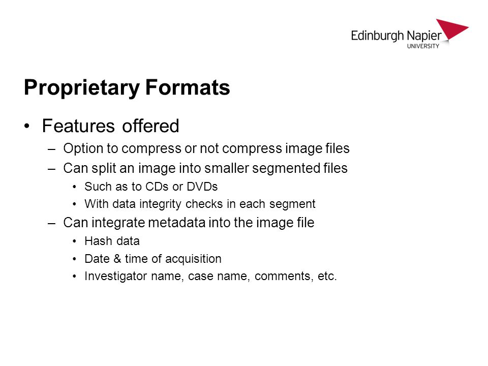 Proprietary Formats Features offered