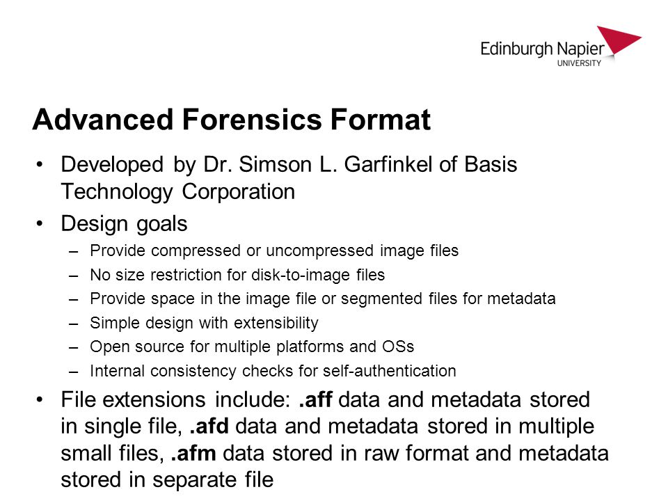 Advanced Forensics Format