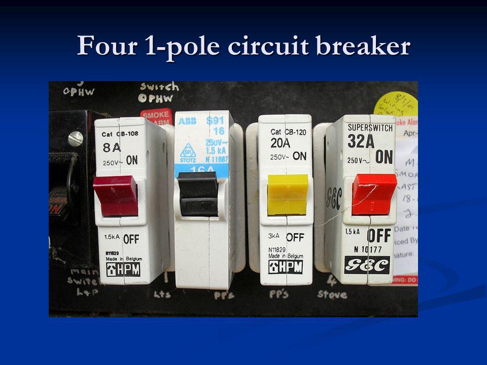 Four 1-pole circuit breaker