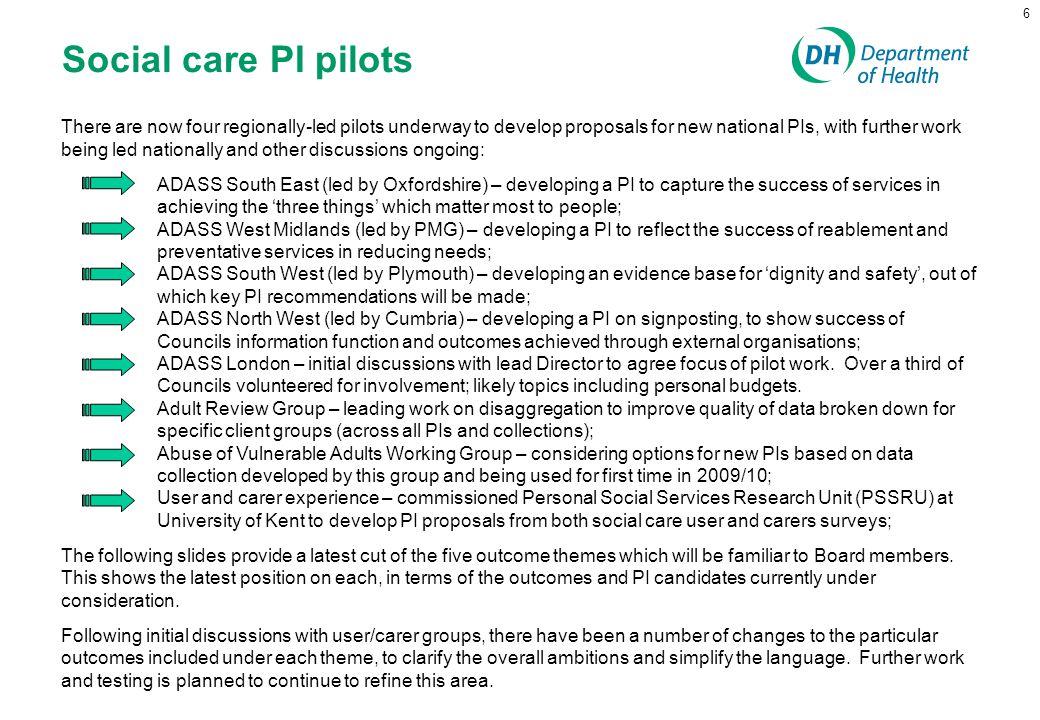 Social care PI pilots