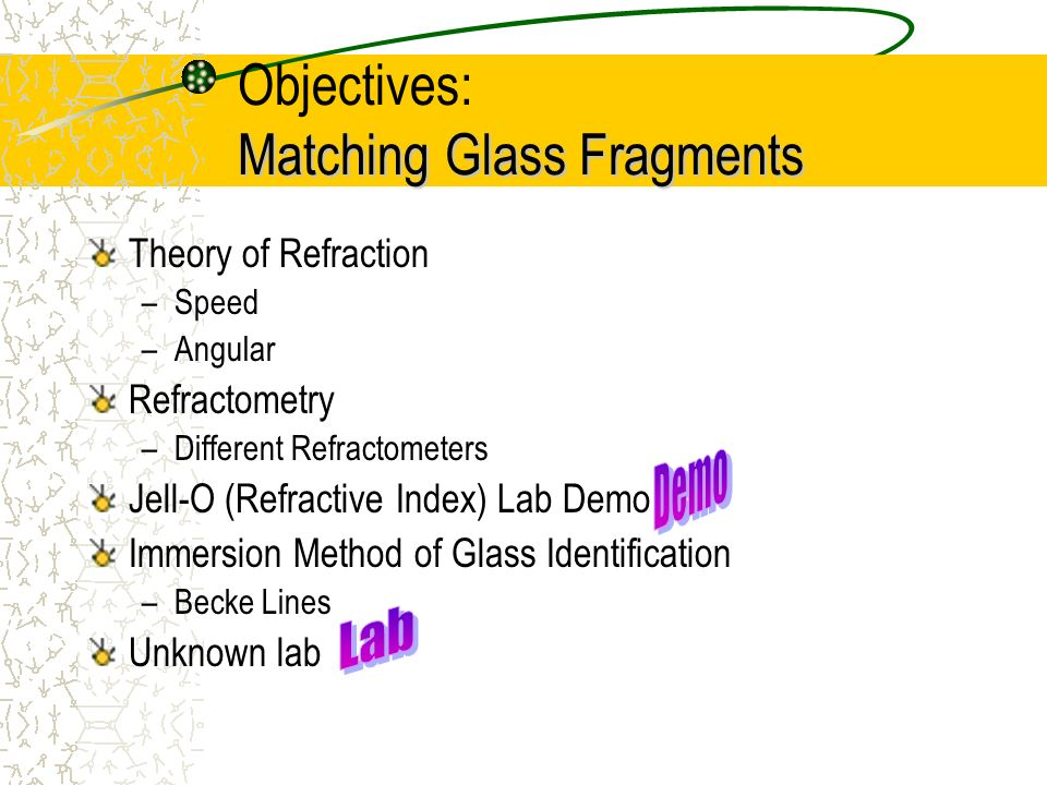 Objectives: Matching Glass Fragments
