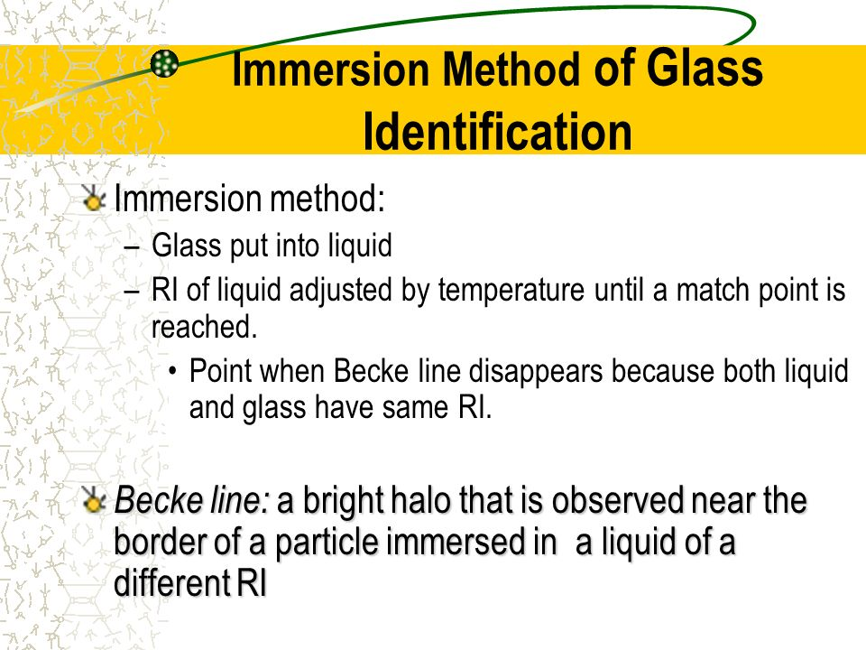 Immersion Method of Glass Identification