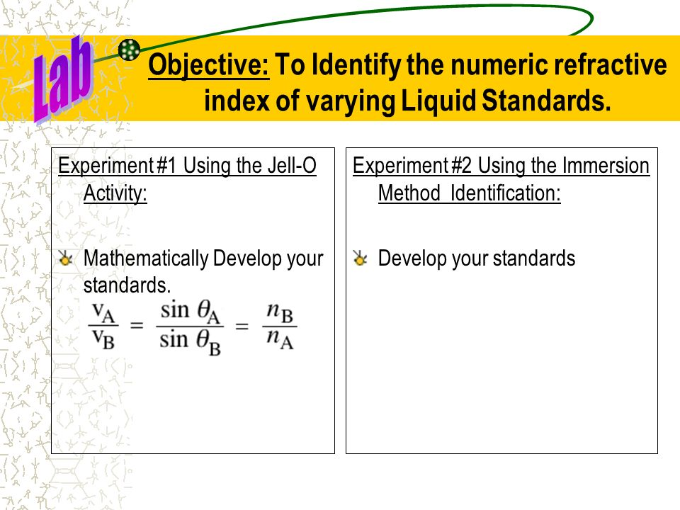 Lab Objective: To Identify the numeric refractive index of varying Liquid Standards. Experiment #1 Using the Jell-O Activity: