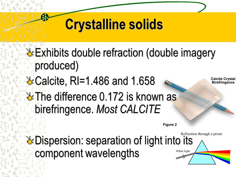 Crystalline solids Exhibits double refraction (double imagery produced) Calcite, RI=1.486 and