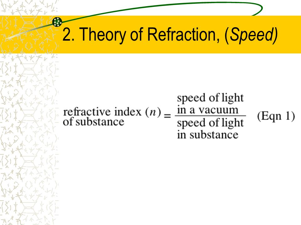 2. Theory of Refraction, (Speed)
