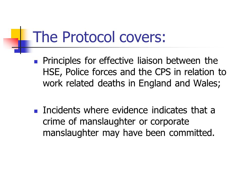 The Protocol covers: