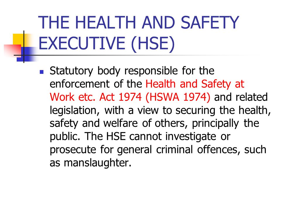 THE HEALTH AND SAFETY EXECUTIVE (HSE)