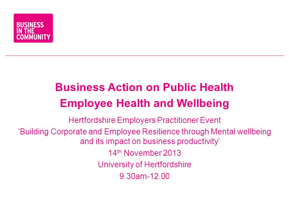 Business Action on Public Health Employee Health and Wellbeing