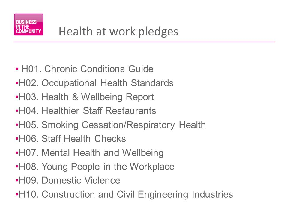 Health at work pledges H01. Chronic Conditions Guide