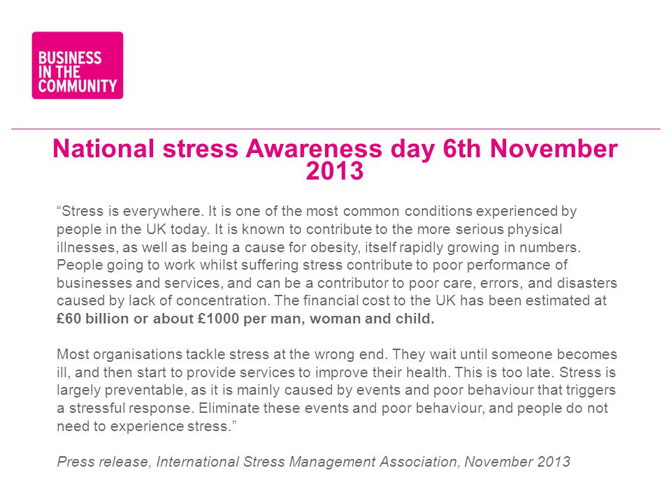 National stress Awareness day 6th November 2013