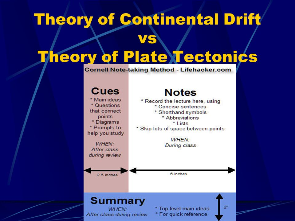 an understanding of the theory of plate tectonics Continental drift vs plate tectonics continental drift and plate tectonics are two theories explaining the geological evolution of the earth, specifically its crust continental drift continental drift is a theory first presented by abraham ortelius (abraham ortels) in 1596.