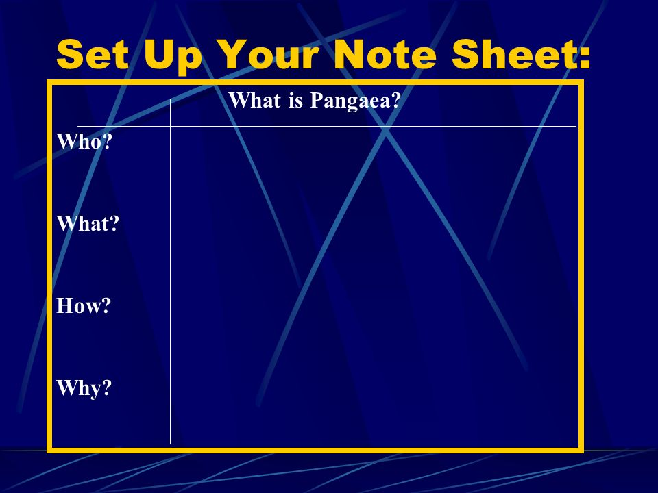 Set Up Your Note Sheet: What is Pangaea Who What How Why