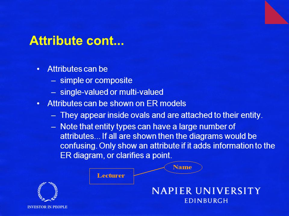 Attribute cont... Attributes can be simple or composite