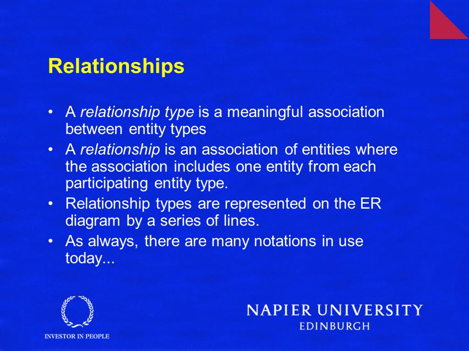 Relationships A relationship type is a meaningful association between entity types.