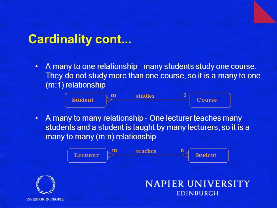 Cardinality cont...