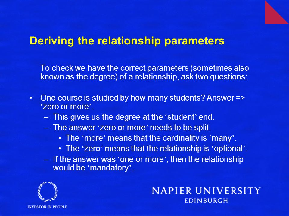 Deriving the relationship parameters