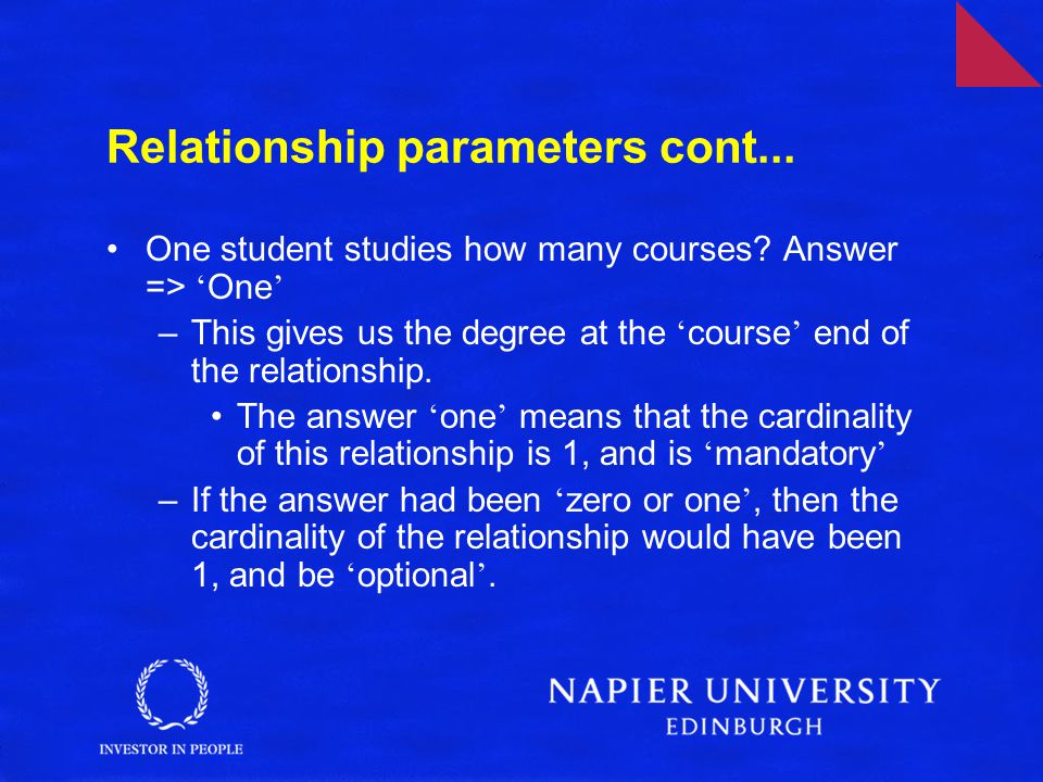 Relationship parameters cont...