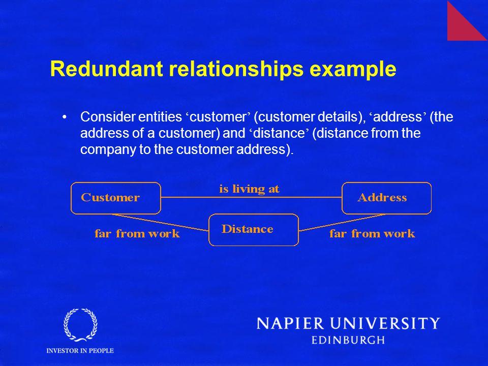 Redundant relationships example