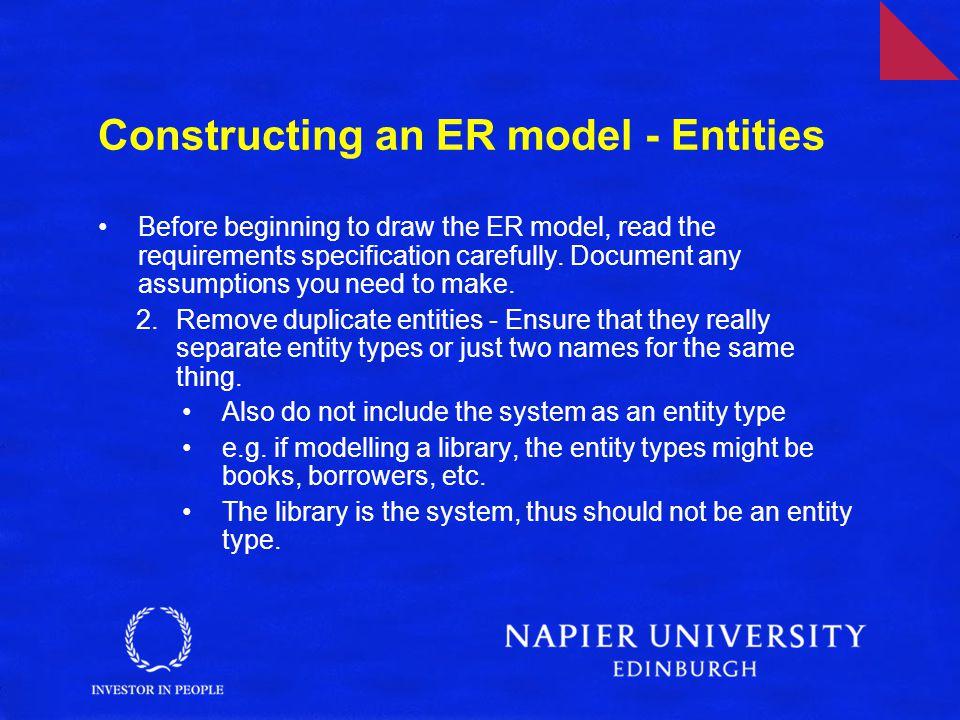 Constructing an ER model - Entities