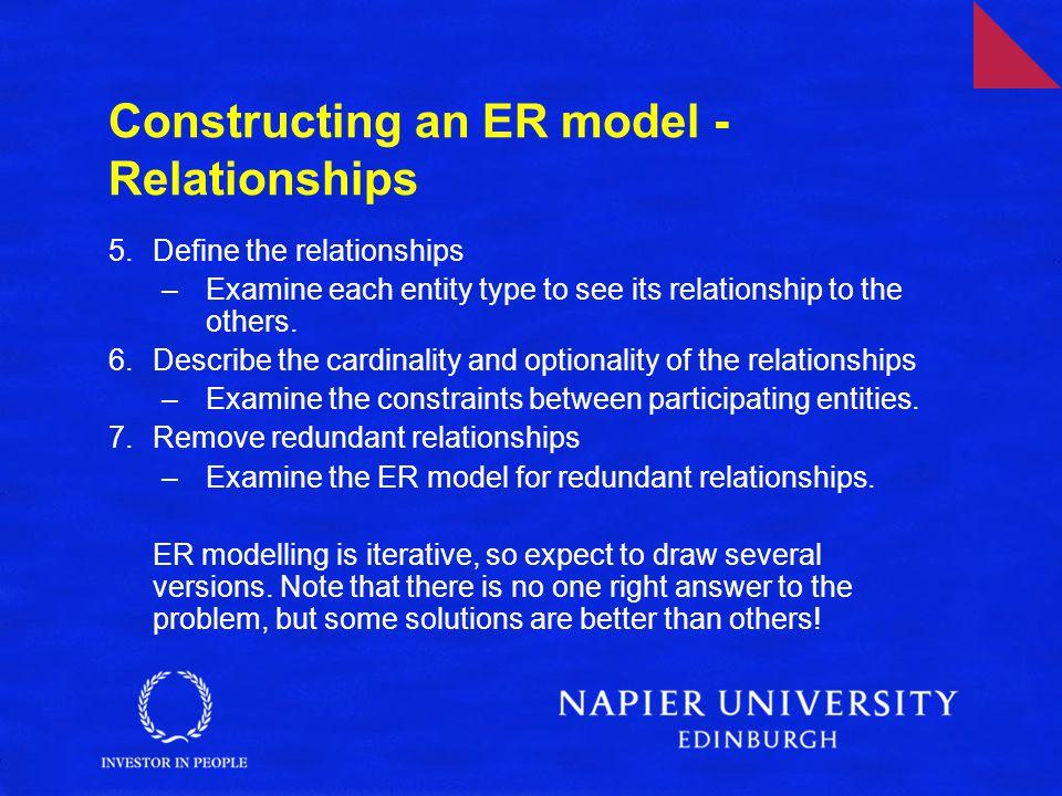 Constructing an ER model - Relationships