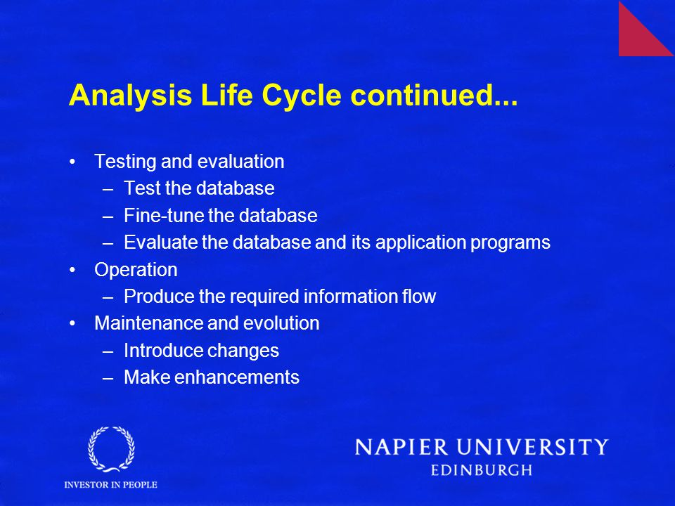 Analysis Life Cycle continued...