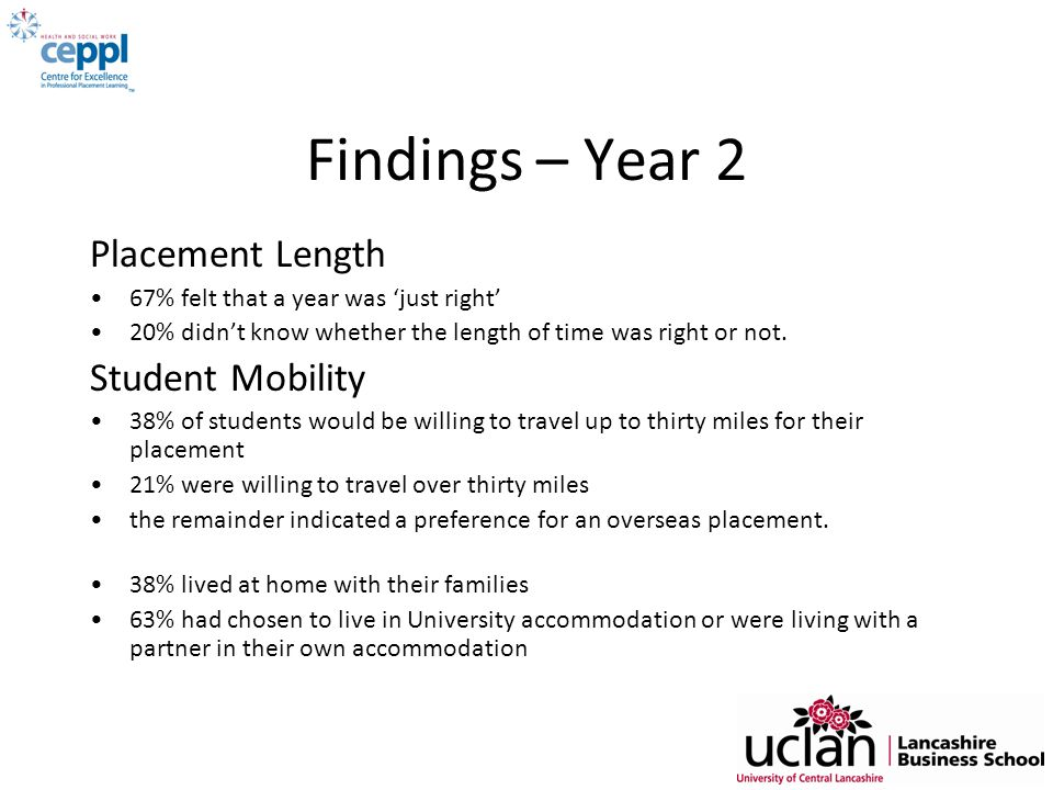Findings – Year 2 Placement Length Student Mobility