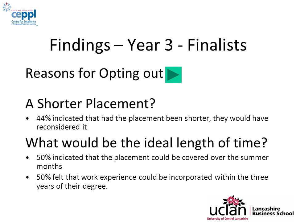 Findings – Year 3 - Finalists