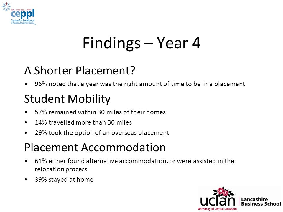 Findings – Year 4 A Shorter Placement Student Mobility