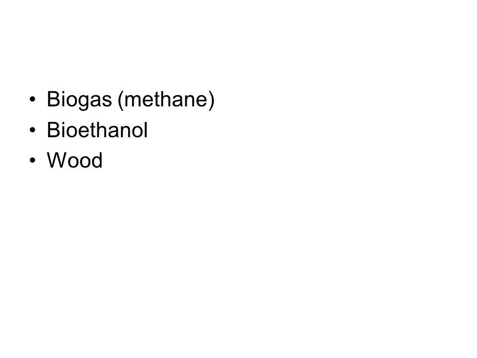 Biogas (methane) Bioethanol Wood