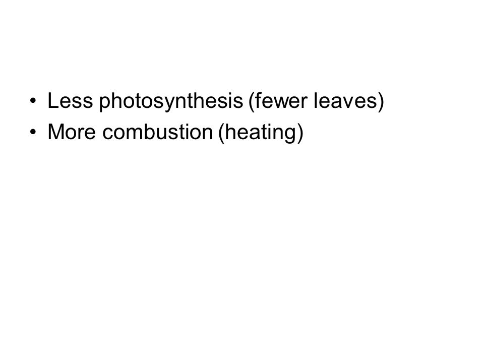 Less photosynthesis (fewer leaves)