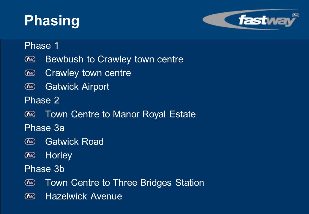 Phasing Phase 1 Bewbush to Crawley town centre Crawley town centre