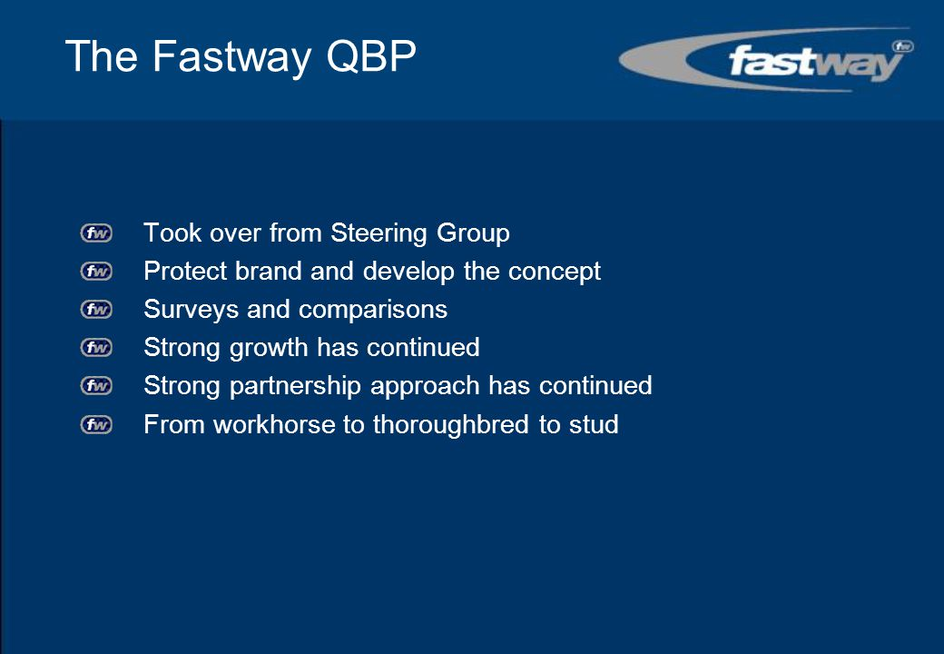 The Fastway QBP Took over from Steering Group