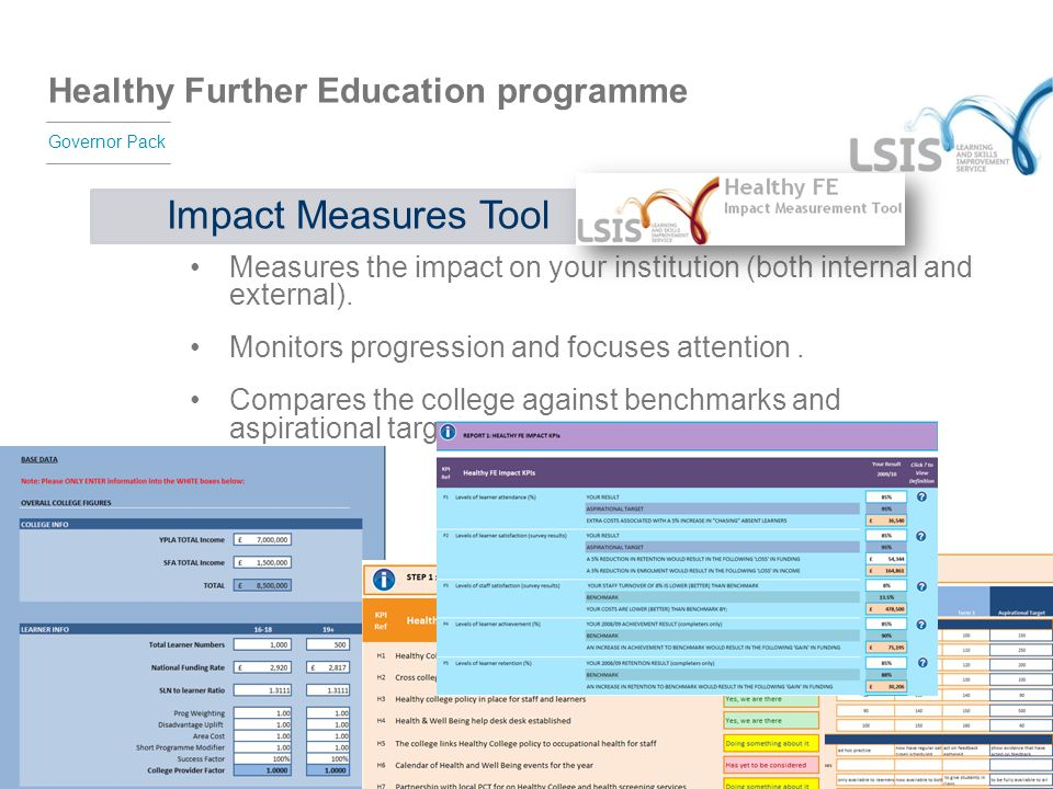 Impact Measures Tool Measures the impact on your institution (both internal and external). Monitors progression and focuses attention .