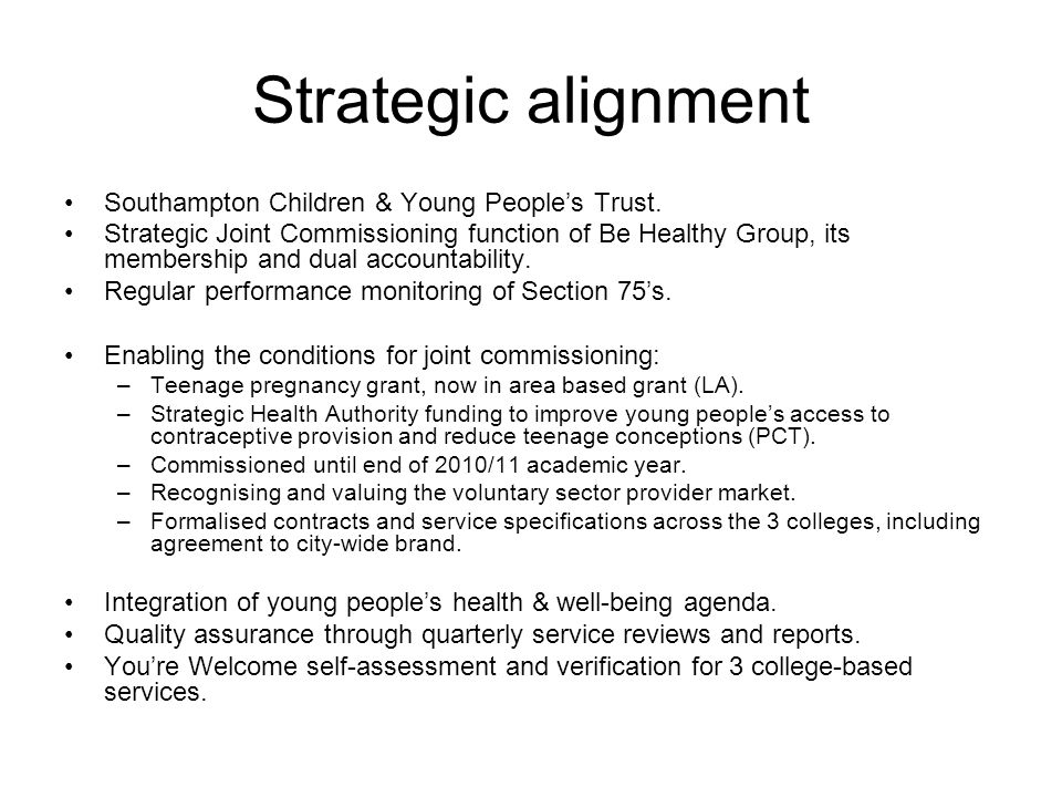 Strategic alignment Southampton Children & Young People's Trust.