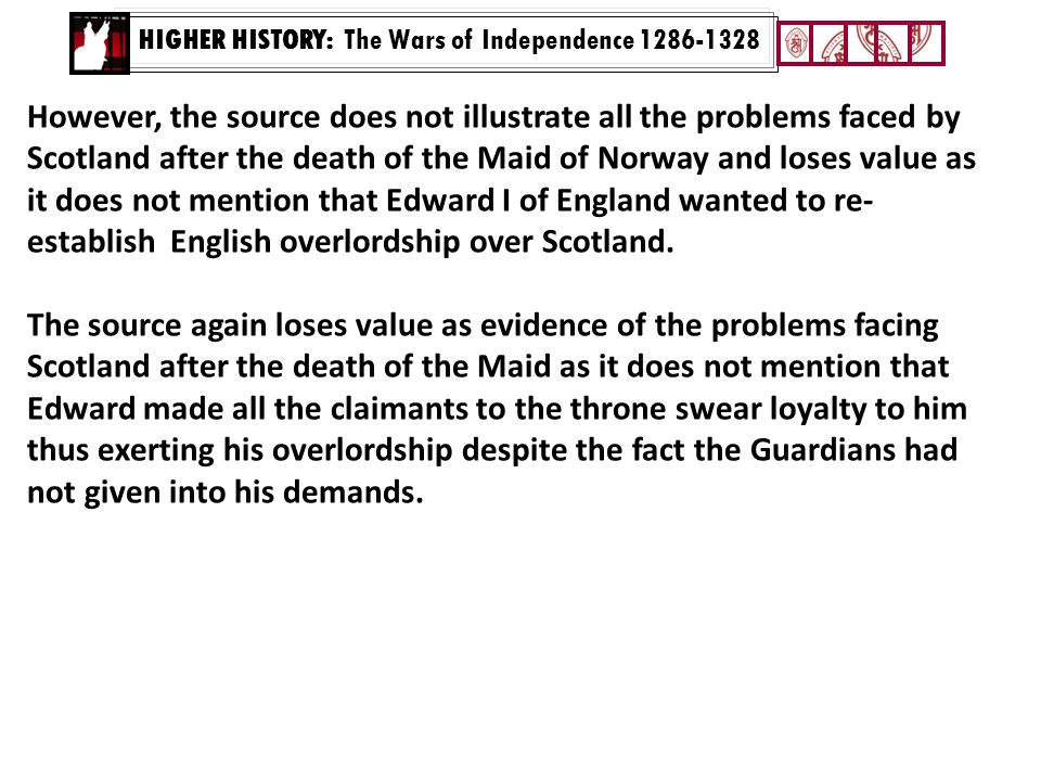 HIGHER HISTORY: The Wars of Independence 1286-1328