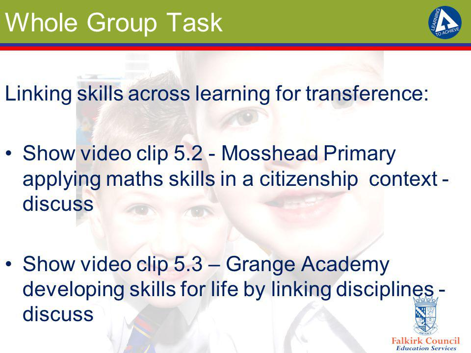 Whole Group Task Linking skills across learning for transference: