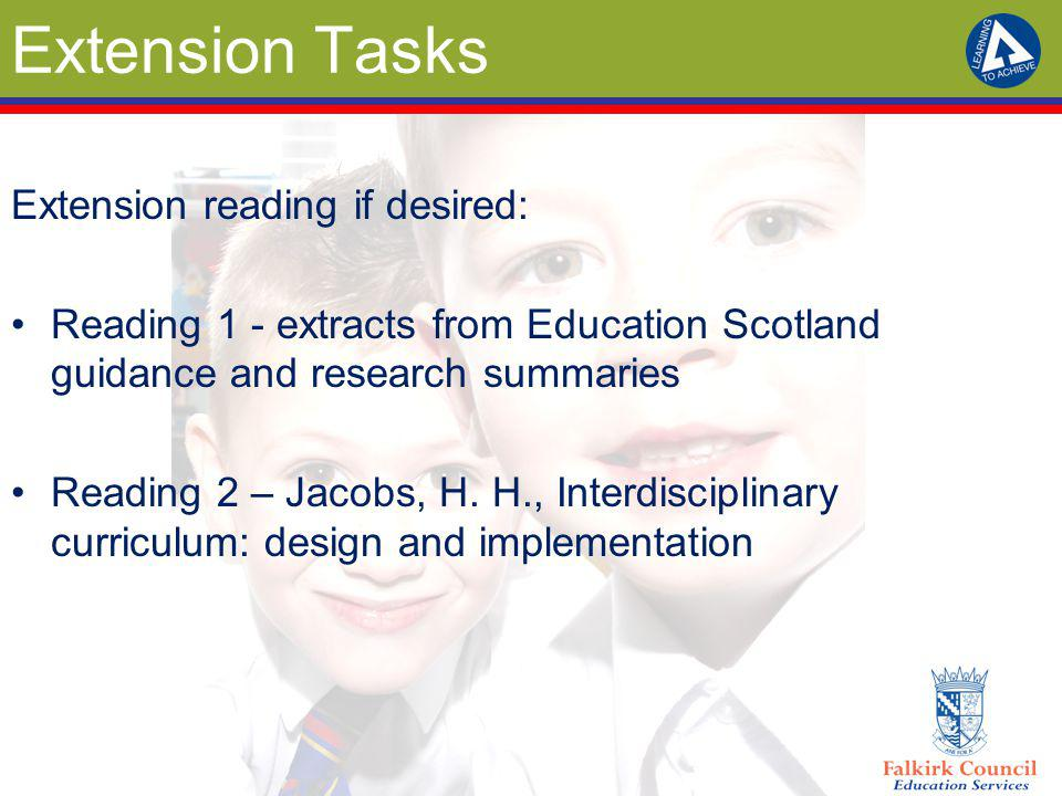 Extension Tasks Extension reading if desired: