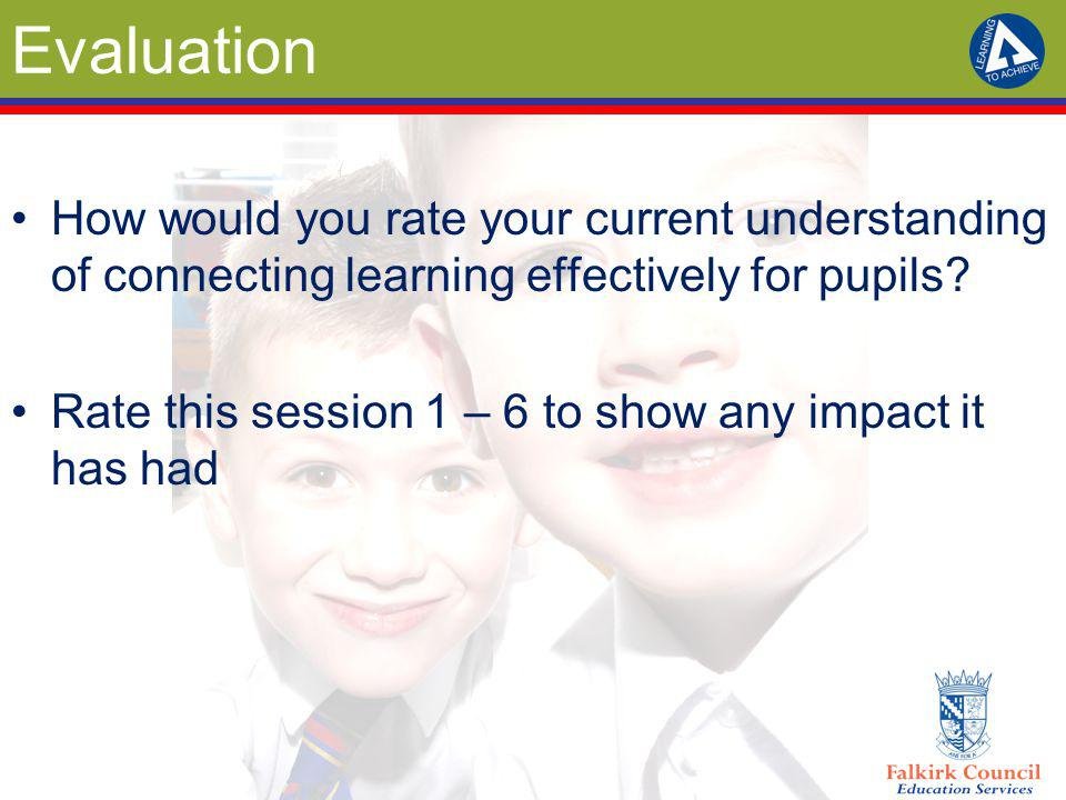 Evaluation How would you rate your current understanding of connecting learning effectively for pupils