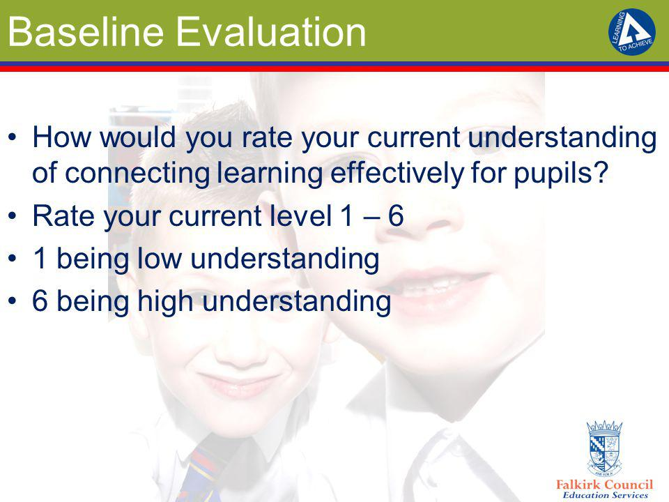 Baseline Evaluation How would you rate your current understanding of connecting learning effectively for pupils