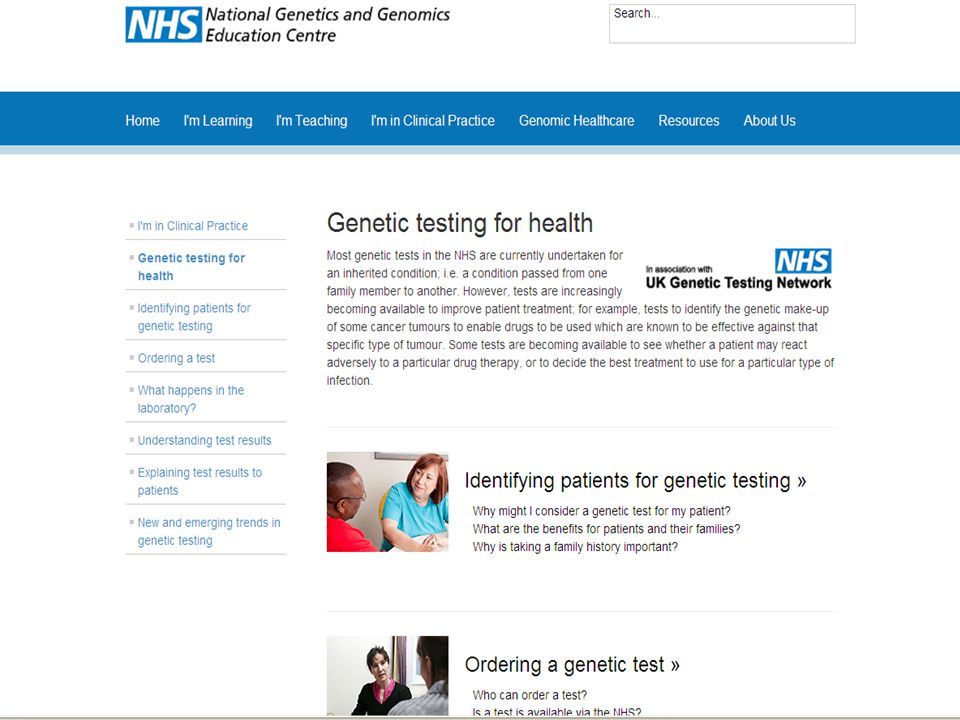 Advise on the genetic tests available