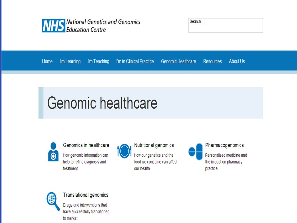 Lots of new resources available including around genomic healthcare