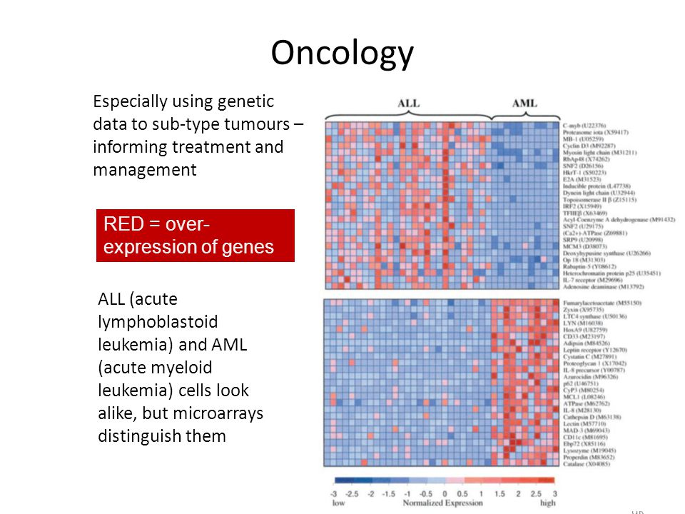 Oncology Especially using genetic data to sub-type tumours – informing treatment and management. RED = over-expression of genes.